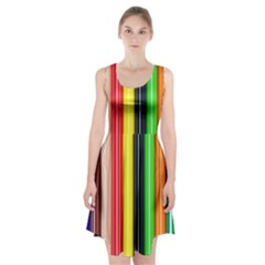 Colorful Striped Background Wallpaper Pattern Racerback Midi Dress