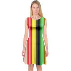 Colorful Striped Background Wallpaper Pattern Capsleeve Midi Dress