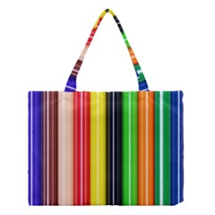 Colorful Striped Background Wallpaper Pattern Medium Tote Bag