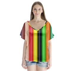 Colorful Striped Background Wallpaper Pattern Flutter Sleeve Top