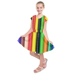 Colorful Striped Background Wallpaper Pattern Kids  Short Sleeve Dress