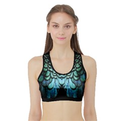 Blue And Green Feather Collier Sports Bra With Border