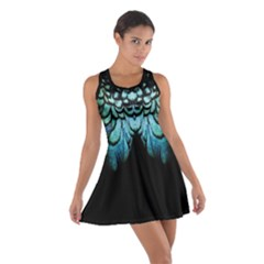 blue and green feather collier Cotton Racerback Dress