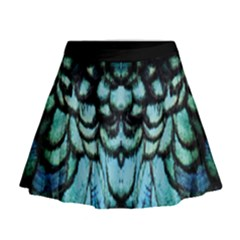 blue and green feather collier Mini Flare Skirt