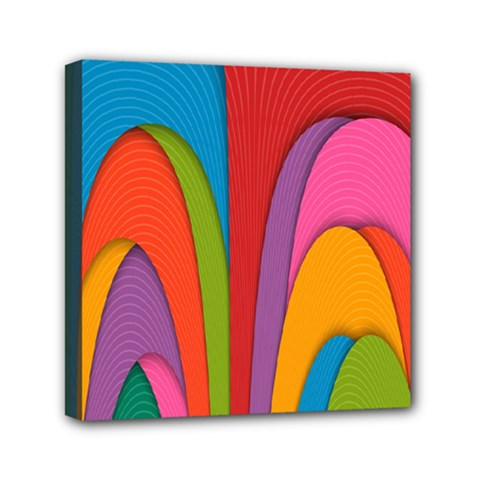 Modern Abstract Colorful Stripes Wallpaper Background Mini Canvas 6  x 6