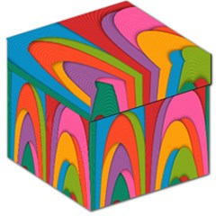 Modern Abstract Colorful Stripes Wallpaper Background Storage Stool 12