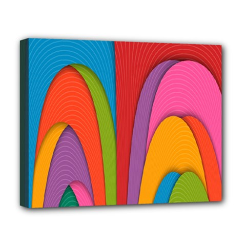 Modern Abstract Colorful Stripes Wallpaper Background Deluxe Canvas 20  X 16