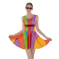 Modern Abstract Colorful Stripes Wallpaper Background Skater Dress