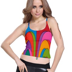 Modern Abstract Colorful Stripes Wallpaper Background Spaghetti Strap Bra Top
