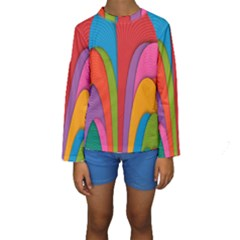 Modern Abstract Colorful Stripes Wallpaper Background Kids  Long Sleeve Swimwear