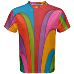 Modern Abstract Colorful Stripes Wallpaper Background Men s Cotton Tee