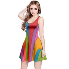 Modern Abstract Colorful Stripes Wallpaper Background Reversible Sleeveless Dress