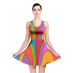Modern Abstract Colorful Stripes Wallpaper Background Reversible Skater Dress