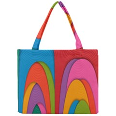 Modern Abstract Colorful Stripes Wallpaper Background Mini Tote Bag
