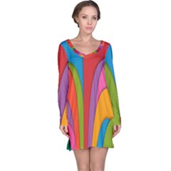 Modern Abstract Colorful Stripes Wallpaper Background Long Sleeve Nightdress