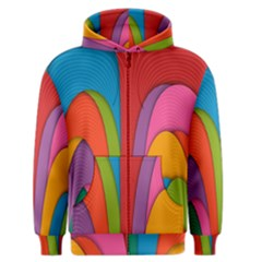 Modern Abstract Colorful Stripes Wallpaper Background Men s Zipper Hoodie