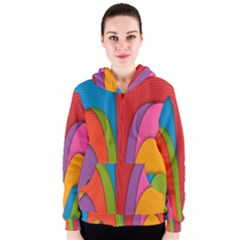 Modern Abstract Colorful Stripes Wallpaper Background Women s Zipper Hoodie