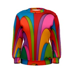 Modern Abstract Colorful Stripes Wallpaper Background Women s Sweatshirt