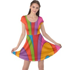 Modern Abstract Colorful Stripes Wallpaper Background Cap Sleeve Dresses