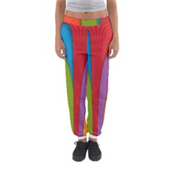 Modern Abstract Colorful Stripes Wallpaper Background Women s Jogger Sweatpants
