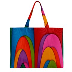 Modern Abstract Colorful Stripes Wallpaper Background Zipper Mini Tote Bag