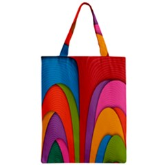 Modern Abstract Colorful Stripes Wallpaper Background Zipper Classic Tote Bag