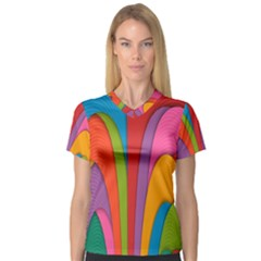 Modern Abstract Colorful Stripes Wallpaper Background Women s V-Neck Sport Mesh Tee