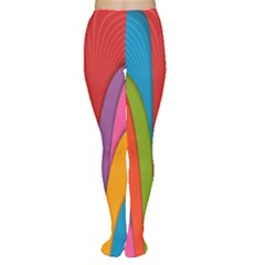 Modern Abstract Colorful Stripes Wallpaper Background Women s Tights