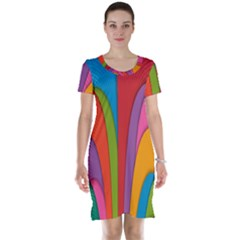 Modern Abstract Colorful Stripes Wallpaper Background Short Sleeve Nightdress