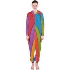 Modern Abstract Colorful Stripes Wallpaper Background Hooded Jumpsuit (Ladies)