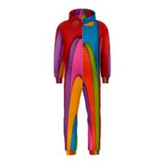 Modern Abstract Colorful Stripes Wallpaper Background Hooded Jumpsuit (kids)