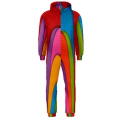 Modern Abstract Colorful Stripes Wallpaper Background Hooded Jumpsuit (Men)