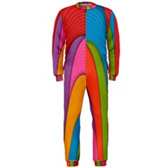 Modern Abstract Colorful Stripes Wallpaper Background Onepiece Jumpsuit (men)