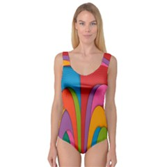 Modern Abstract Colorful Stripes Wallpaper Background Princess Tank Leotard