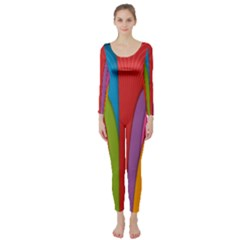 Modern Abstract Colorful Stripes Wallpaper Background Long Sleeve Catsuit