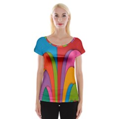 Modern Abstract Colorful Stripes Wallpaper Background Women s Cap Sleeve Top