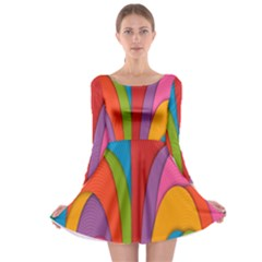 Modern Abstract Colorful Stripes Wallpaper Background Long Sleeve Skater Dress