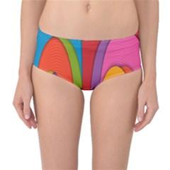 Modern Abstract Colorful Stripes Wallpaper Background Mid Waist Bikini Bottoms