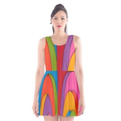 Modern Abstract Colorful Stripes Wallpaper Background Scoop Neck Skater Dress