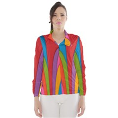 Modern Abstract Colorful Stripes Wallpaper Background Wind Breaker (women)