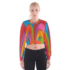 Modern Abstract Colorful Stripes Wallpaper Background Women s Cropped Sweatshirt