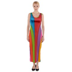 Modern Abstract Colorful Stripes Wallpaper Background Fitted Maxi Dress