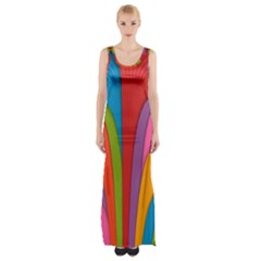 Modern Abstract Colorful Stripes Wallpaper Background Maxi Thigh Split Dress