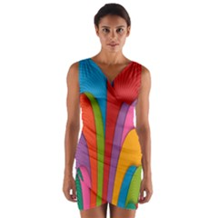 Modern Abstract Colorful Stripes Wallpaper Background Wrap Front Bodycon Dress