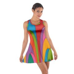 Modern Abstract Colorful Stripes Wallpaper Background Cotton Racerback Dress