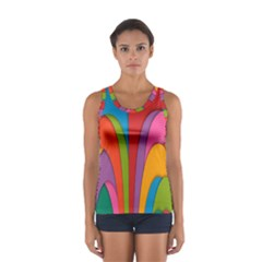 Modern Abstract Colorful Stripes Wallpaper Background Women s Sport Tank Top