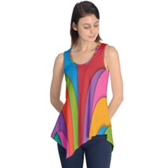 Modern Abstract Colorful Stripes Wallpaper Background Sleeveless Tunic