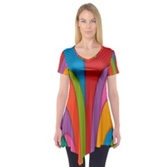 Modern Abstract Colorful Stripes Wallpaper Background Short Sleeve Tunic