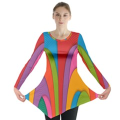 Modern Abstract Colorful Stripes Wallpaper Background Long Sleeve Tunic