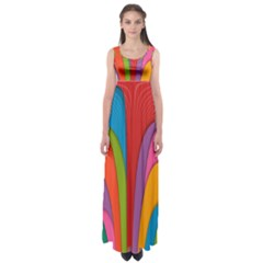 Modern Abstract Colorful Stripes Wallpaper Background Empire Waist Maxi Dress